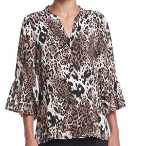 NEW Leopard Animal Print Woven Bell Sleeve Blouse